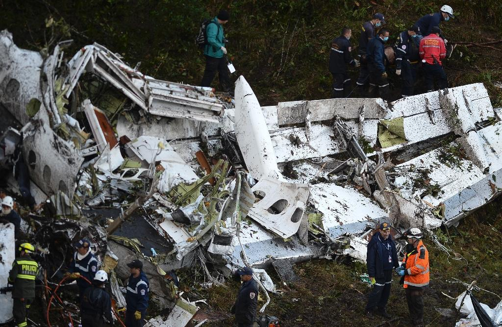 Rescue teams work in the recovery of the bodies of victims of the LAMIA airlines charter that crashed in the mountains of Cerro Gordo, municipality of La Union, Colombia, carrying members of the Brazilian football team Chapecoense Real