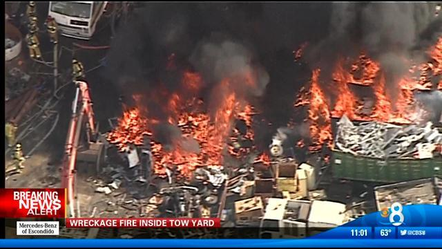 Tow yard wreckage fire