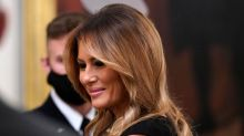 Melania Trump Elevates a Classic Black Dress With Unmissable Striped Pumps