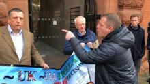 Brother of loyalist murder victim disrupts NI Protocol protest