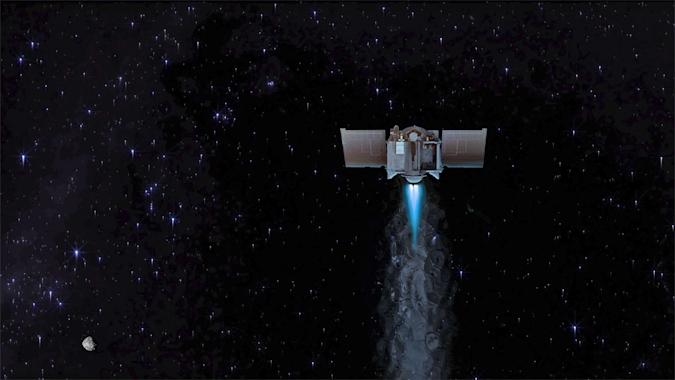An artists rendering of the Osiris-REx asteroid probe in space.
