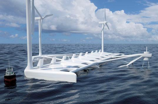 Poseidon floating power plant features wind turbines, location for Waterworld II