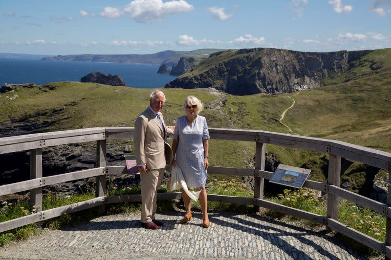 FILE PHOTO: Britain's Prince Charles, Prince of Wales and Britain's Camilla, Duchess of Cornwall visit Tintagel Castle in Cornwall