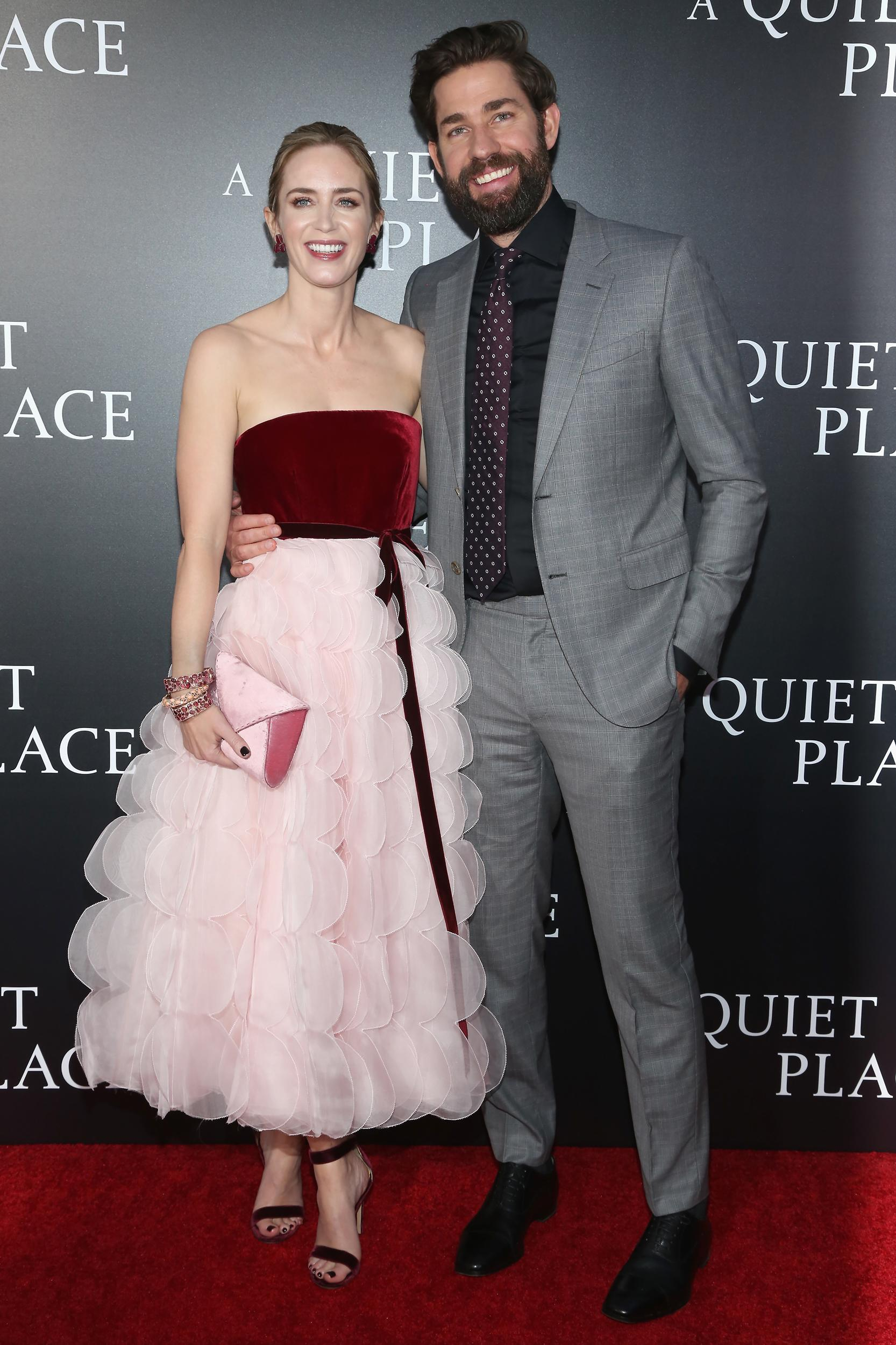 NEW YORK, NY - APRIL 02:  Emily Blunt and John Krasinski attend New York Premiere of 'A Quiet Place' on April 2, 2018 in New York City.  (Photo by Sylvain Gaboury/Patrick McMullan via Getty Images)