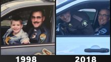 Father-son police duo recreate adorable pic after 20 years