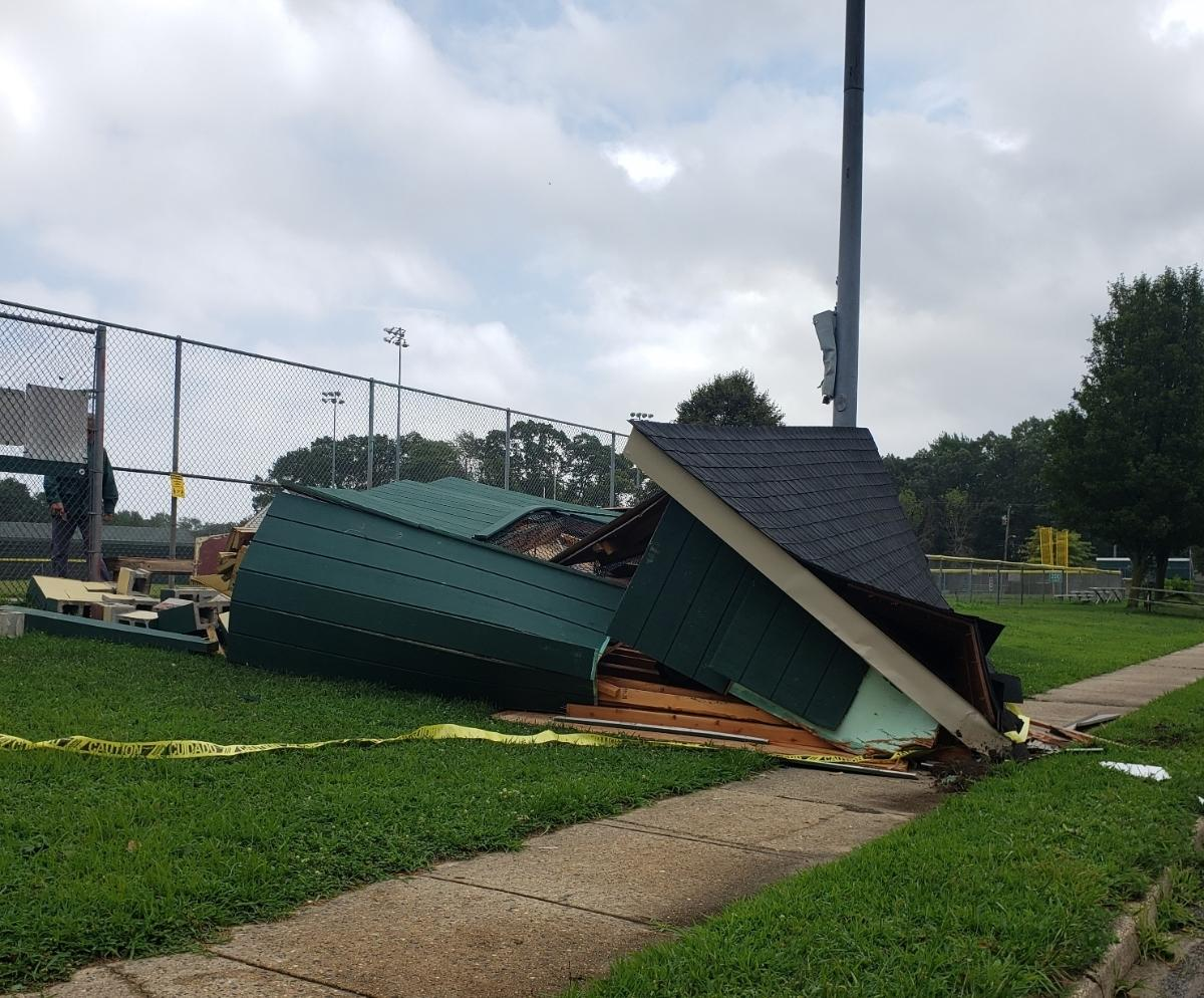 A dugout was destroyed at the Berkeley Little League field in Berkeley Township.