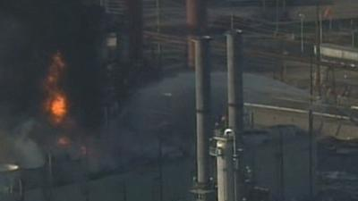 Raw Video: SF Bay Area Refinery Fire