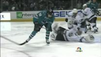 Quick robs Kearns with glove save on the ice