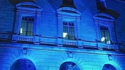 Portland City Hall Bathed In Blue