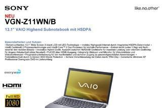 Sony's forthcoming VAIO Z series laptops unofficially detailed