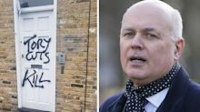 'Tory cuts kill' graffiti painted on Conservative office