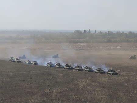 A view shows military vehicles during exercises in the Donetsk region, Ukraine September 28, 2017. Picture taken September 28, 2017. REUTERS/Sergei Karazy