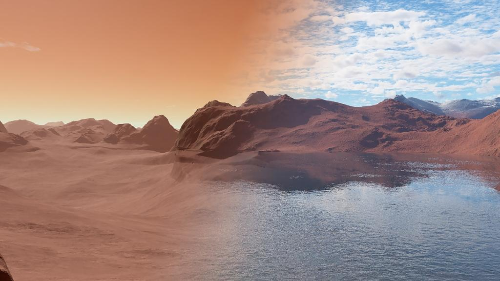 Current Mars, red, dead and dry on the left contrasts with the same landscape covered in water, early in the planet's history, more than three billion years ago