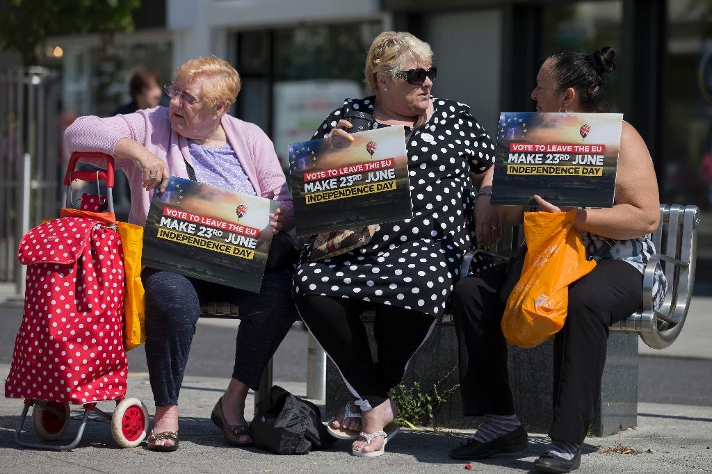 Leave supporters hold placards in Clacton-on-Sea, a once booming seaside resort which now has 40 percent unemployment (AFP Photo/Justin Tallis)