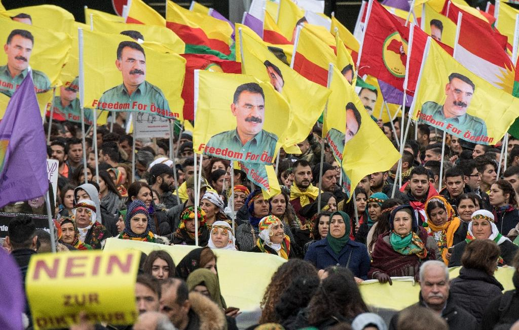 Many protestors carried flags of the outlawed PKK as well as portraits of Kurdish nationalist leader Abdullah Ocalan