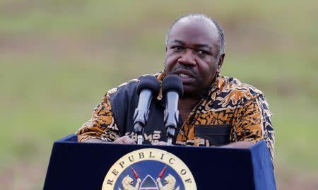 Gabon's President Ali Bongo Ondimba addresses the media at Nairobi National Park near Nairobi, Kenya
