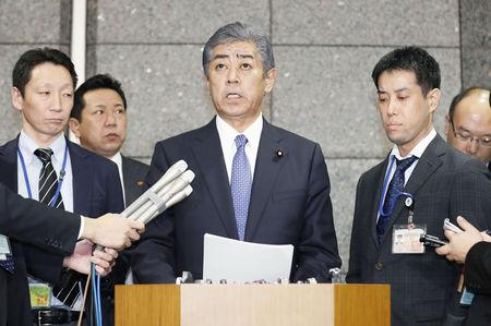 Japanese Defence Minister Takeshi Iwaya speaks during a news conference at Defence Ministry in Tokyo, Japan, in this photo taken by Kyodo December 21, 2018. Mandatory credit Kyodo/via REUTERS ATTENTION EDITORS - THIS IMAGE WAS PROVIDED BY A THIRD PARTY. MANDATORY CREDIT. JAPAN OUT. NO COMMERCIAL OR EDITORIAL SALES IN JAPAN.