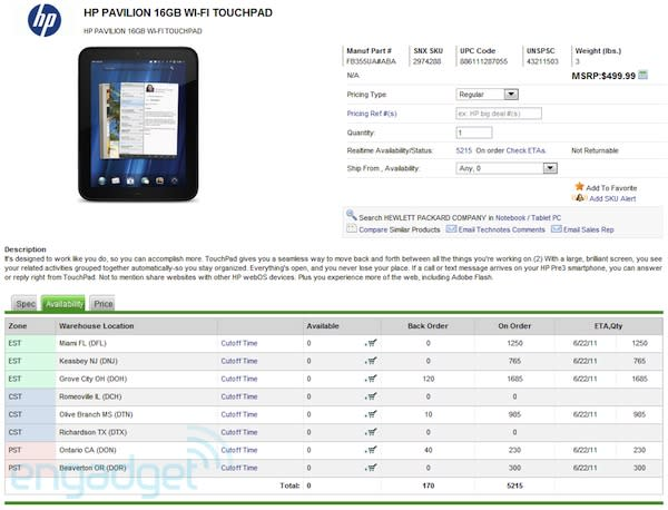 HP TouchPad to be available June 22nd, starting at $500 for 16GB?