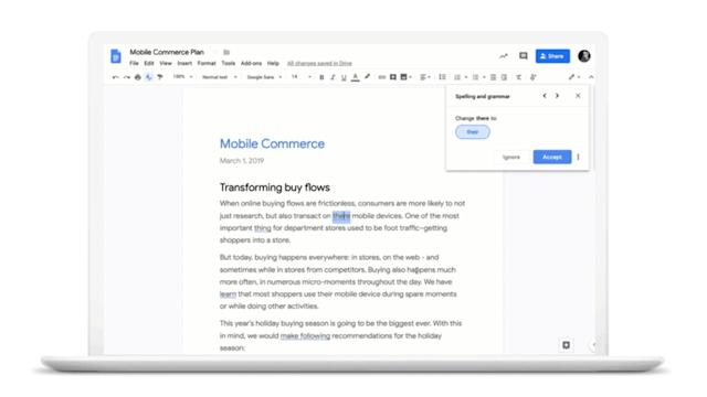 Google Docs' AI grammar checker rolls out to G Suite users