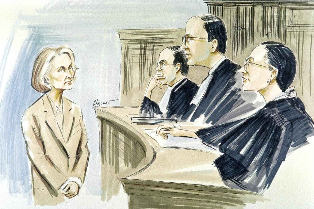 A court sketch from September 16, 1992 of the trial of Madame Claude in Paris (AFP Photo/Jean Chesnot)
