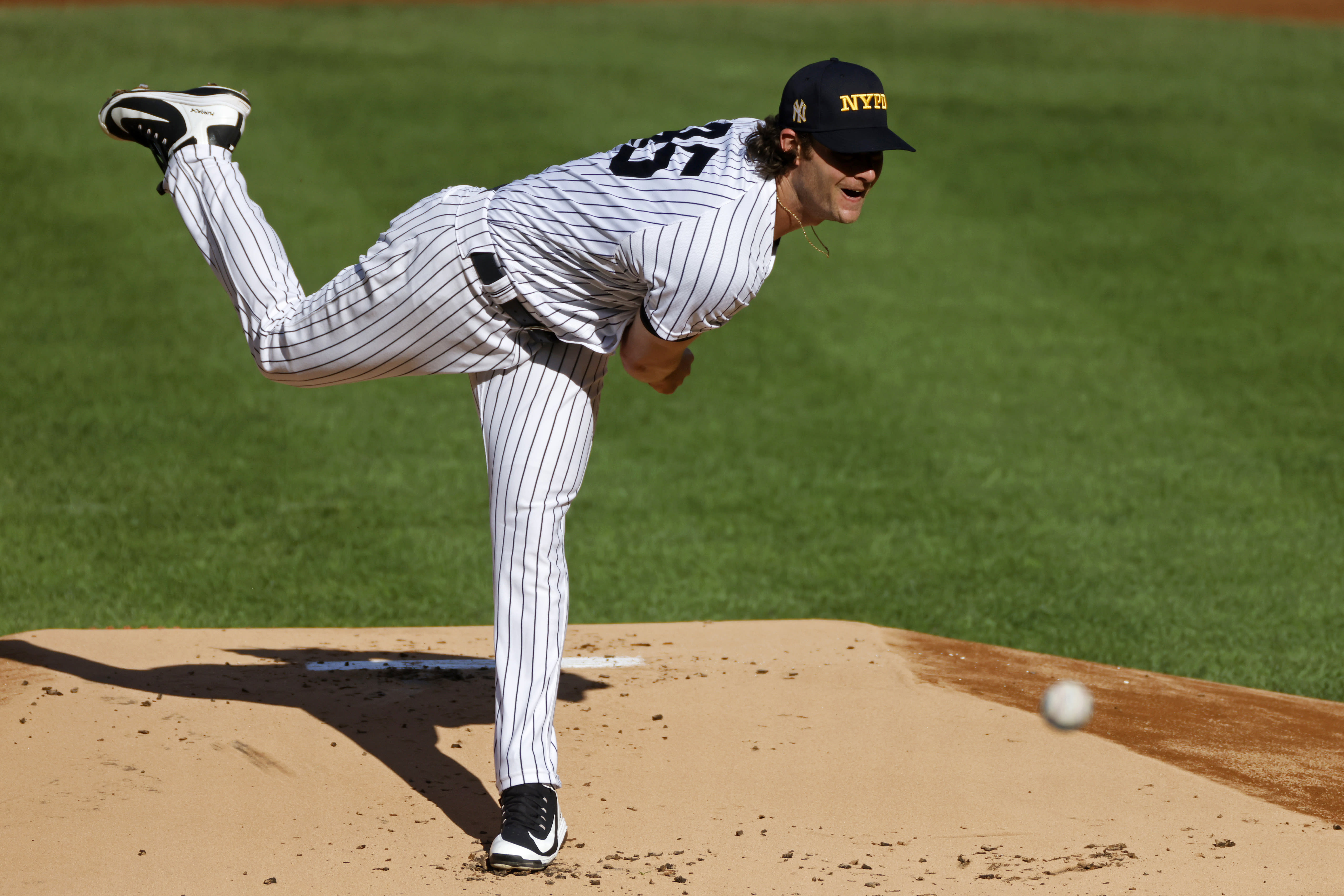 New York Yankees pitcher Gerrit Cole throws during the first inning of the first baseball game of the team's doubleheader against the Baltimore Orioles, Friday, Sept. 11, 2020, in New York. The Yankees won 6-0. (AP Photo/Adam Hunger)