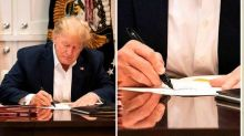 Donald Trump mocked for signing apparently blank piece of paper in 'staged' photos at hospital
