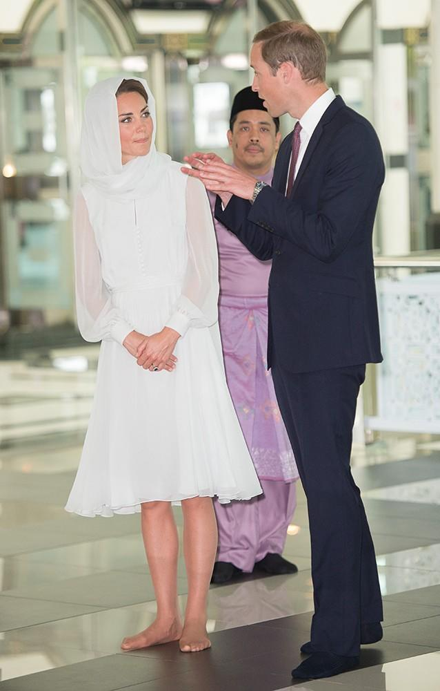 On Day 4, Kate and William visited a Mosque, respectfully removing their shoes, Kate wore a headscarf and looked lovely in white.