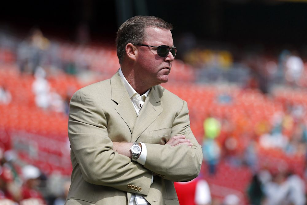 Scot McCloughan's lucky tan suit jacket, plus two signed hats, is for sale on eBay. (AP)