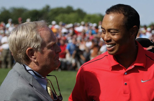 Tiger Woods and Jack Nicklaus back in 2012. (Getty Images)