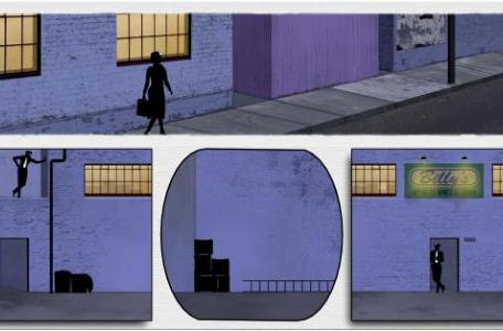 Play with the panels of a noir spy comic in Framed
