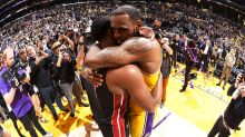 Touching scenes as epic rivalry ends for NBA legends