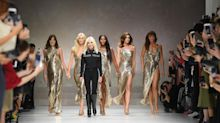 51-year-old model outshines teen daughter in sexy high-slit gown on Versace runway
