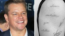 Matt Damon gets four daughters' names tattooed on to his upper arm