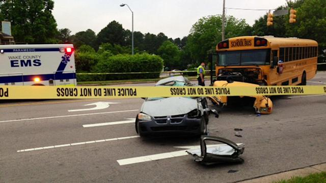 Driver killed after car collides with Wake County school bus