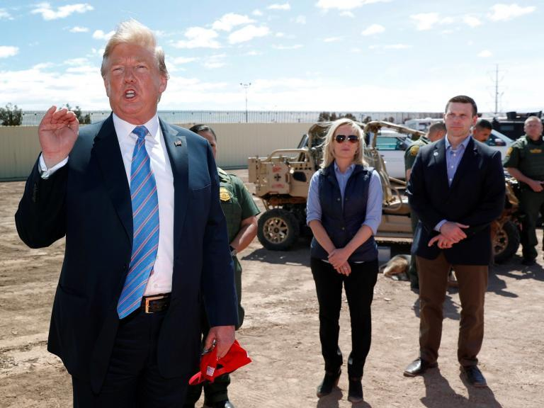 """Donald Trump reportedly encouraged agents working at the US-Mexico border to deny asylum seekers entry, an action which would have violated US law.The president first discussed the idea during an Oval Office meeting on 21 March with senior administration officials.Those present included Kirstjen Nielsen, who was then secretary for Homeland Security and Pat Cipollone, the White House counsel, according to CNN.Mercedes Schlapp and Dan Scavino, the president's advisers, were also present, as was Jared Kushner, Mr Trump's son-in-law.Ms Nielsen told the president that barring asylum seekers from the US was against the law.The official discussed the issue with Mr Cipollone, who confirmed that she was correct.Under the Immigration and Naturalization Act, people arriving at the border """"may apply for asylum"""", a right which is reinforced under international law as the US is a signatory to the UN's 1951 Refugee Convention.Mr Trump visited border agents in Calexico, a city in California on 5 April.""""We're full, our system's full, our country's full -- can't come in!"""" he said during the visit.""""Our country is full, what can you do?"""" We can't handle any more, our country is full. Can't come in, I'm sorry. It's very simple.""""CNN reported two sources said the president privately told border agents to deny asylum seekers entry to the US.They said he encouraged them to tell judges who objected to the idea that the US had no room for migrants, but that after Mr Trump departed, the border agents looked to their superiors for guidance.Officials told the agents to follow the law, adding that they were not being told to deny migrants entry and that if they did so, they would bear personal legal liability.Following the Oval Office meeting in March the president also ordered Ms Nielsen to close the border in the Texan city of El Paso.The official criticised the idea, which was eventually abandoned.It comes days after the president said """"frankly, we should get rid of judges"""", during an extended"""