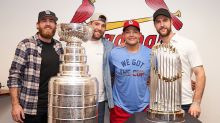 St. Louis Blues visit the Cardinals with the Stanley Cup