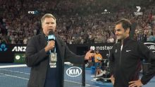 Will Ferrell revives Ron Burgundy for a hilarious interview with Roger Federer