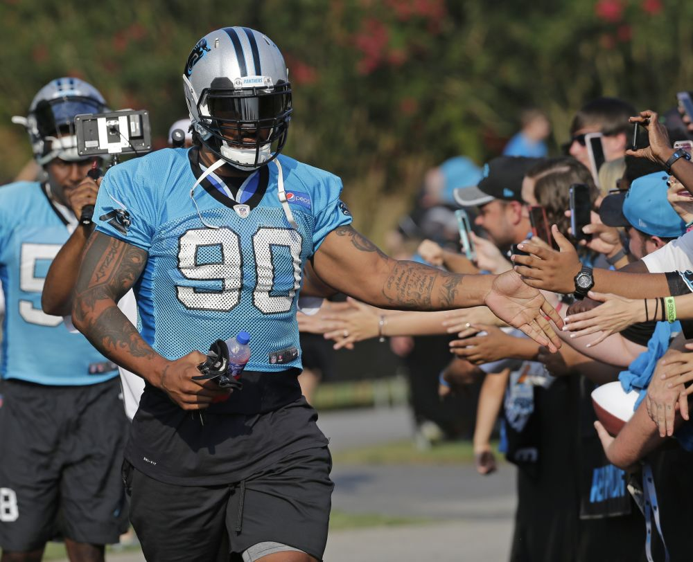 Carolina Panthers' Julius Peppers (90) was named NFC defensive player of the week. (AP)