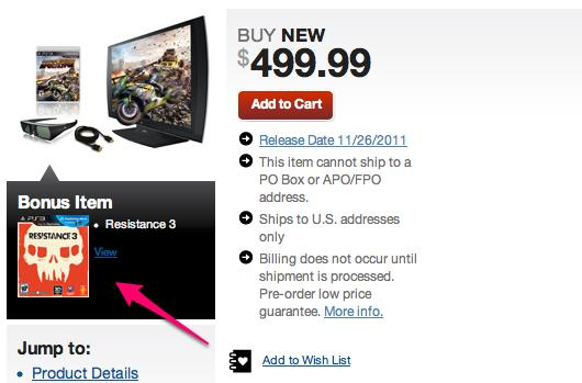 Gamestop bundling Resistance 3 with PlayStation 3DTV anyway (if you preorder)