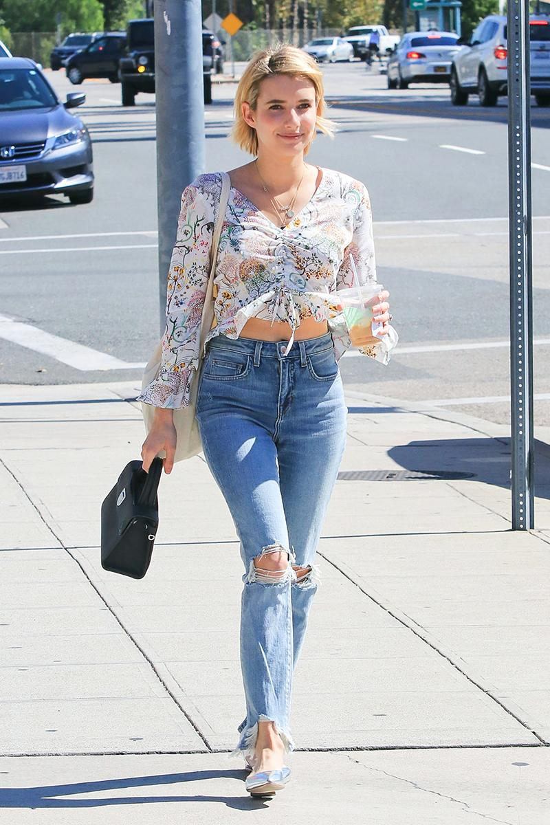Emma Roberts Outfit Is Perfect For The Not Quite Fall Weather