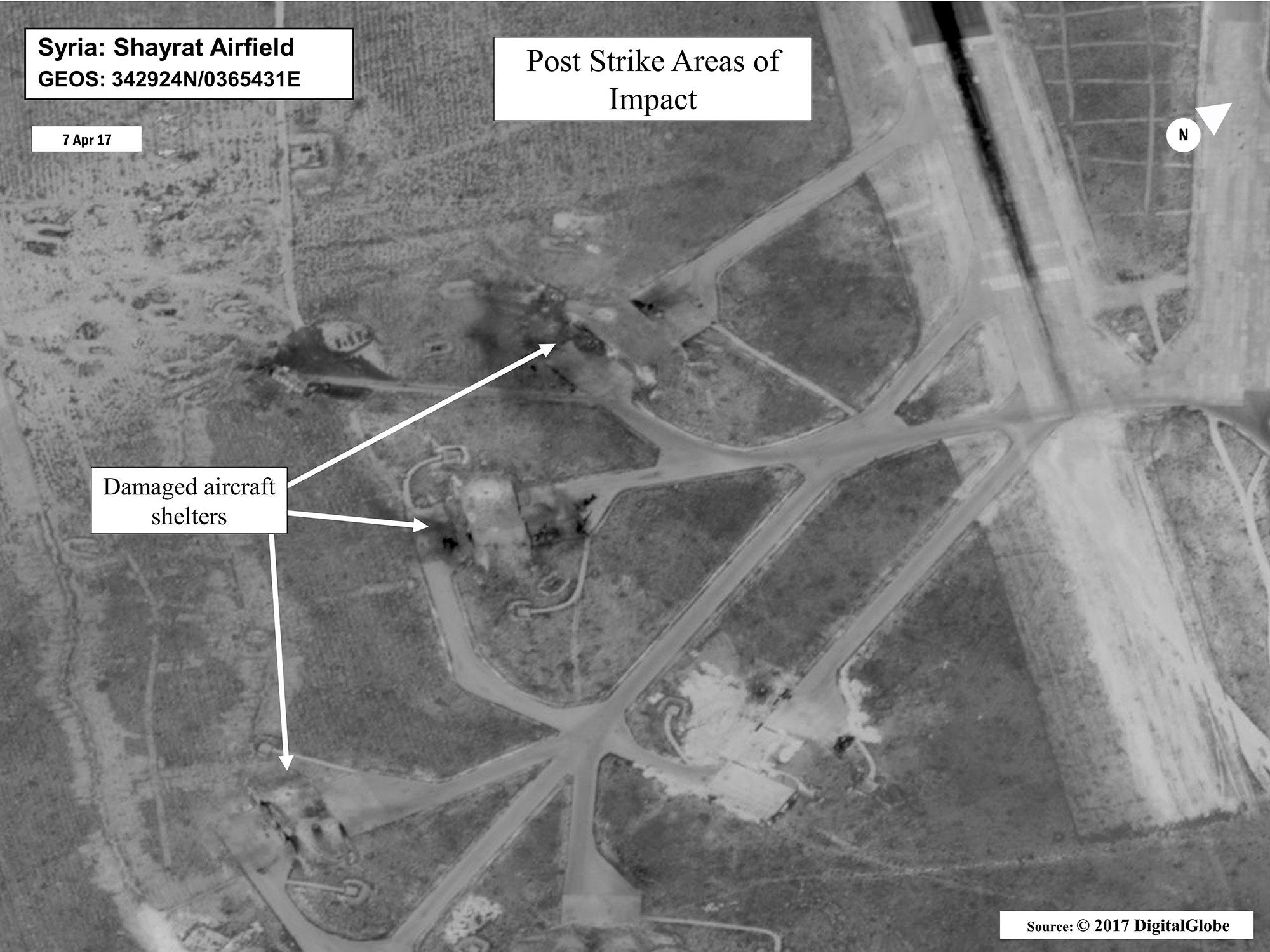 <p>This satellite image shows damage at Shayrat Air Base in Syria after the U.S. fired Tomahawk missiles at it on April 7, 2017 from the USS Ross and USS Porter guided-missile destroyers. (DigitalGlobe/U.S. Department of Defense via AP) </p>