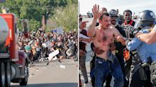 Truck driver who sped into protesters hauled from his rig and beaten