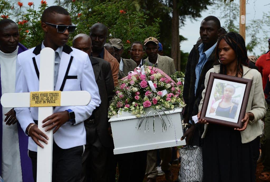 The funeral of Anjela Nyokabi, a victim of the Garissa university attack, at Mutunguru Catholic church in Kiambu on April 10, 2015 (AFP Photo/Simon Maina)