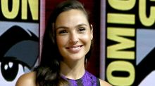 Gal Gadot Takes Comic-Con in a Fringed Purple Minidress and Ankle-Strap Sandals