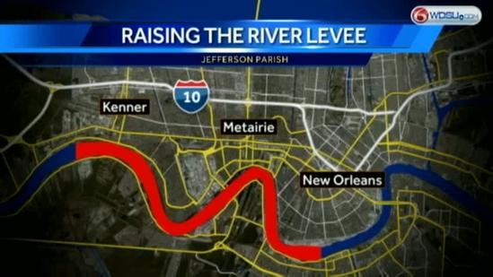 Mississippi River levee being raised in Kenner