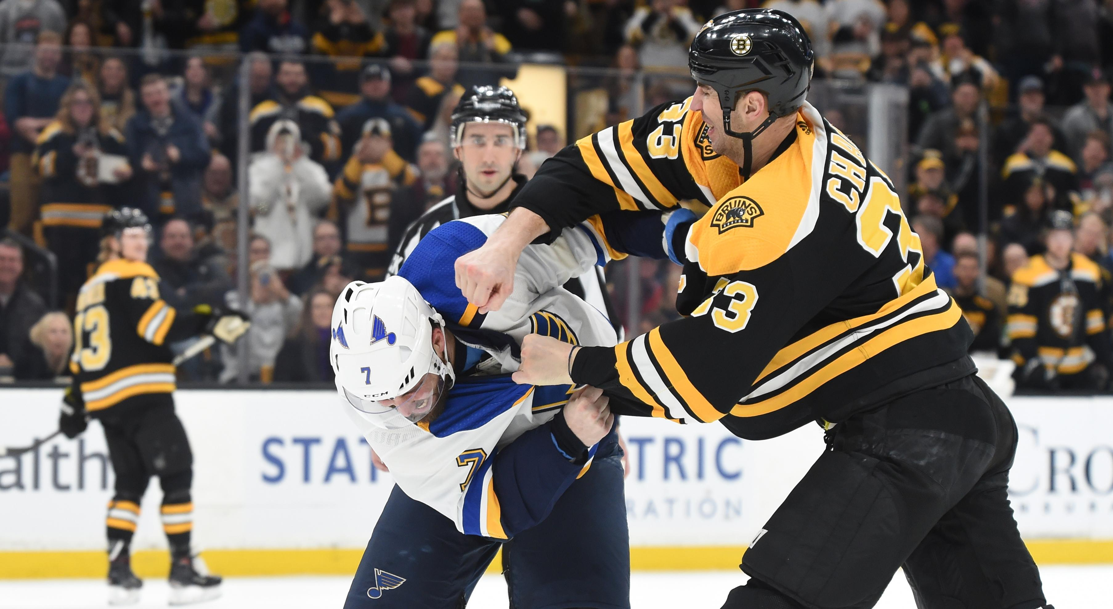 hot sale online 64be0 72e7d Blues' Patrick Maroon fights Bruins' Zdeno Chara