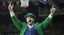 Notre Dame leprechaun gets laid out during ACC mascot game