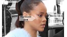 Rihanna's Pearlescent Lips, Lids, and Skin