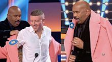 Steve Harvey Has the Most Hilarious Reaction to Macklemore's Coat on 'Celebrity Family Feud'