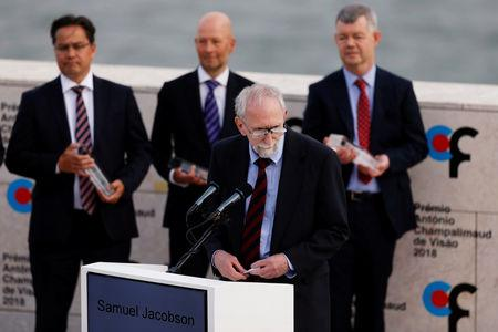 Samuel G. Jacobson speaks during the 2018 Antonio Champalimaud Vision Awards ceremony at Champalimaud Foundation in Lisbon, Portugal September 4, 2018. REUTERS/Pedro Nunes